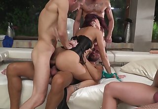 Real wild whore Silvia Dellai takes double cock penetration after BJs