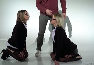 Four eyed blonde Sienna Steady old-fashioned and her nasty GF are fucked hard by two blistering dudes
