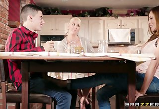 Hot busty aunt Ariella Ferrera seduces her young cousin in the kitchenette