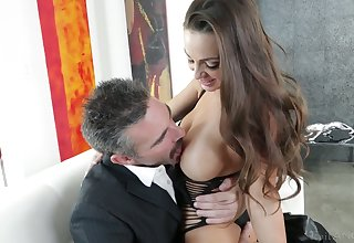 Older dude fucks graceful chick with succulent boobs Abigail Mac and cums in their way opened mouth