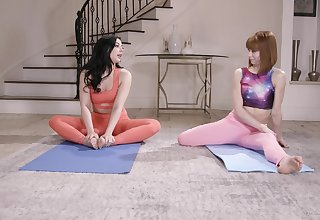After yoga class Whitney Wright tickle her friend's pussy on the floor