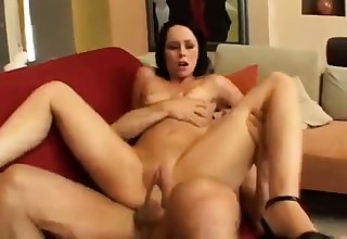 Hardcore anal assault as A horny brunette slut takes two cocks