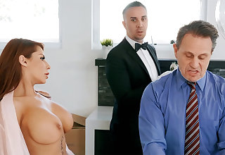 Horny butler is brim about at hand anal fuck housewife